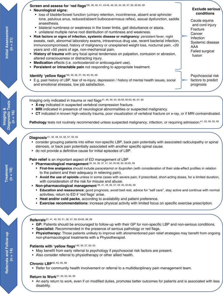 Back pain assessment and management recommendations from review article published in EMA 2018
