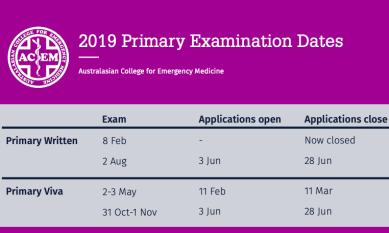 Primary exams 2019